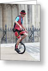 Clown Riding Unicycle In Town Greeting Card