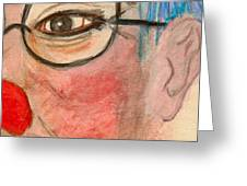 Clown With Glasses Greeting Card