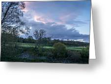 The Evening Is Fallen Over The Meadow Colouring The Sky Pink And Blue. Greeting Card