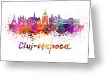 Cluj-napoca Skyline In Watercolor Splatter Greeting Card