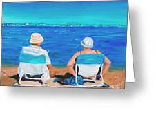 Clyde And Elma At The Beach Greeting Card