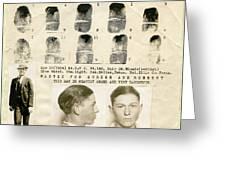 Clyde Barrow Mugshot Greeting Card