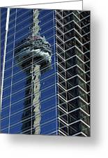 Cn Tower Reflected In A Glass Highrise Greeting Card