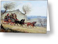 Coaching Oil Of A Royal Mail Coach Crossing Landscape Greeting Card