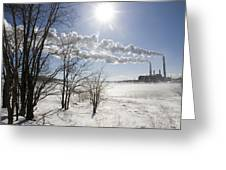 Coal Fired Power Plant In Winter Greeting Card