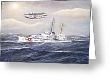 Coast Guard Cutter Pontchartrain And Coast Guard Aircraft  Greeting Card
