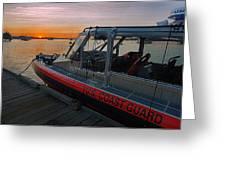 Coast Guard Response Boat At Sunset Greeting Card