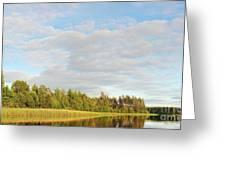 Coast Of Summer Lake Shined With Sun Beams Greeting Card