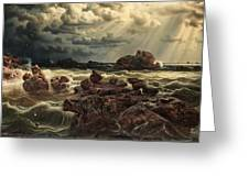 Coastal Landscape With Ships On The Horizon Greeting Card