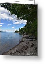 Coastal Maine's Rocky Shore On A Beautiful Summer Day Greeting Card