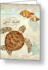 Coastal Waterways - Green Sea Turtle Rectangle 2 Greeting Card