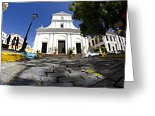 Cobblestone And Cathedral  Greeting Card