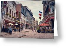 Cobblestone Streets In Old Montreal  Greeting Card