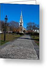 Cobblestone To Trinity Church Newport Rhode Island Greeting Card