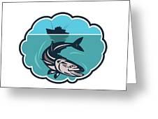 Cobia Fish Fishing Boat Bubble Retro Greeting Card