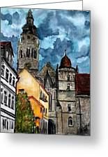 Coburg Germany Castle Painting Art Print Greeting Card