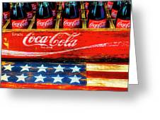 Coca Cola And Wooden American Flag Greeting Card