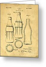 Coca Cola Bottle Patent Art 1937 Blueprint Drawing Greeting Card