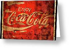 Coca Cola Square Aged Texture Black Border Greeting Card