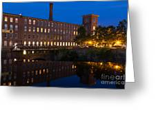 Cocheco Mills At Blue Hour Dover New Hampshire Greeting Card