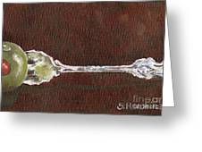 Cocktail Fork With Olive Greeting Card