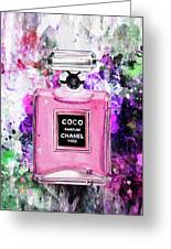 Coco Chanel Parfume Pink Greeting Card