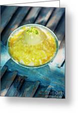 Coconut Milk Sorbet With Mango Sauce Vanilla Ice Cream Greeting Card
