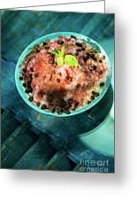 Coconut Milk Sorbet With Strawberry Sauce Vanilla Ice Cream Greeting Card