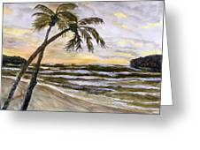 Coconut Palms On Cloudy Day Greeting Card