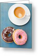 Coffee And Baked Donuts Greeting Card