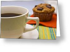 Coffee And Chocolate Muffin Greeting Card