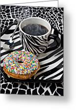 Coffee And Donut On Striped Plate Greeting Card