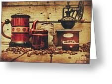 Coffee Bean Grinder Beside Old Pot Greeting Card