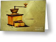 Coffee Mill And Cup Of Hot Black Coffee Greeting Card