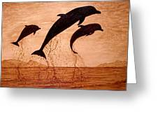 Coffee Painting Dolphins Playing Greeting Card