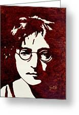 Coffee Painting John Lennon Greeting Card