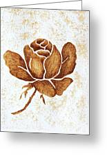 Coffee Painting Rose Blooming Greeting Card
