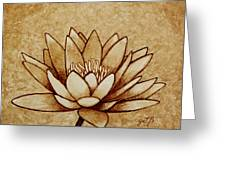 Coffee Painting Water Lilly Blooming Greeting Card