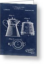 Coffee Pot Patent 1916 Blue Greeting Card