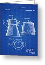 Coffee Pot Patent 1916 Blue Print Greeting Card