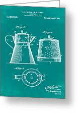 Coffee Pot Patent 1916 Green Greeting Card