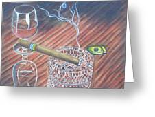 Cohiba And  Wine Greeting Card