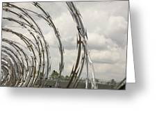 Coils Of Razor Wire On Fence Greeting Card