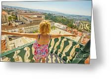 Coimbra Aerial Woman Greeting Card