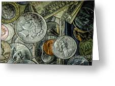Coins And Bills Greeting Card