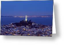 Coit Tower At Dusk San Francisco California Greeting Card