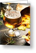 Cold Beer And Delicious Snacks Greeting Card