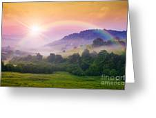 Cold Fog On Hot Sunrise In Mountains Greeting Card