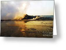 Cold Morning Sunrise At Grand Prismatic Spring Greeting Card