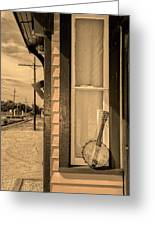 Cold Point Village Station - Banjo Mandolin In Sepia Greeting Card